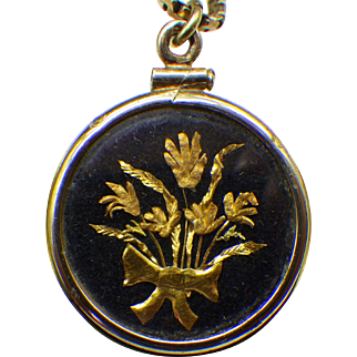 1930s 24k Gold Floral Cameo Pendant, Gold Vermeil Locket and Chain, Italian