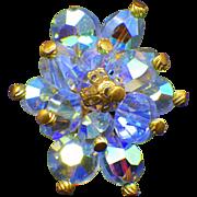 1950s Blue Aurora Borealis Crystal Clip Earrings