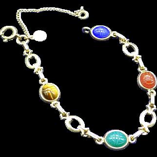 1950 Uncas manufacturing 12k GF Gemstone Scarab Bracelet With Safety Chain