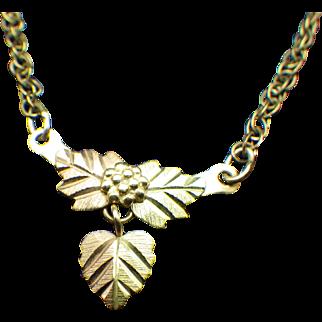 10k Coleman Company Black Hills Gold Petite Pendant Necklace, 1940s