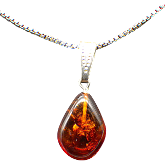 1940s Genuine Cherry Amber Pendant Necklace, Sterling Silver Findings