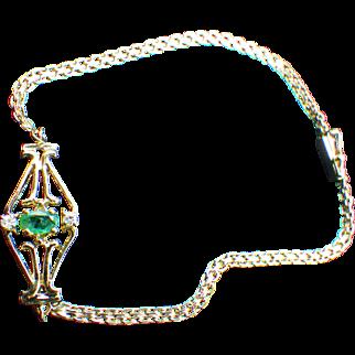 14k Gold, Emerald and Diamond Bracelet, Fabulous Gift!