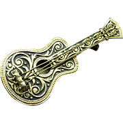 1950s Spanish Damascene Figural Guitar with Strings Pin