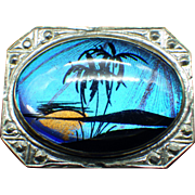 Morpho Butterfly Wing Pin Hand Painted Island Scene 1940s Vintage