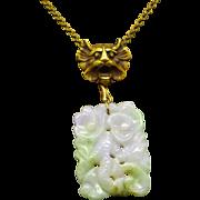 Jadeite Pendant Necklace Foo Dog Centerpiece Asian Vintage