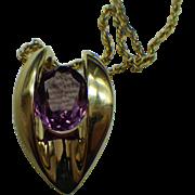 Gold Vermeil Slider Pendant Necklace Purple Amethyst Gemstone
