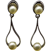 Sterling Cultured Pearl Pierced Earrings, 1960s Elegance
