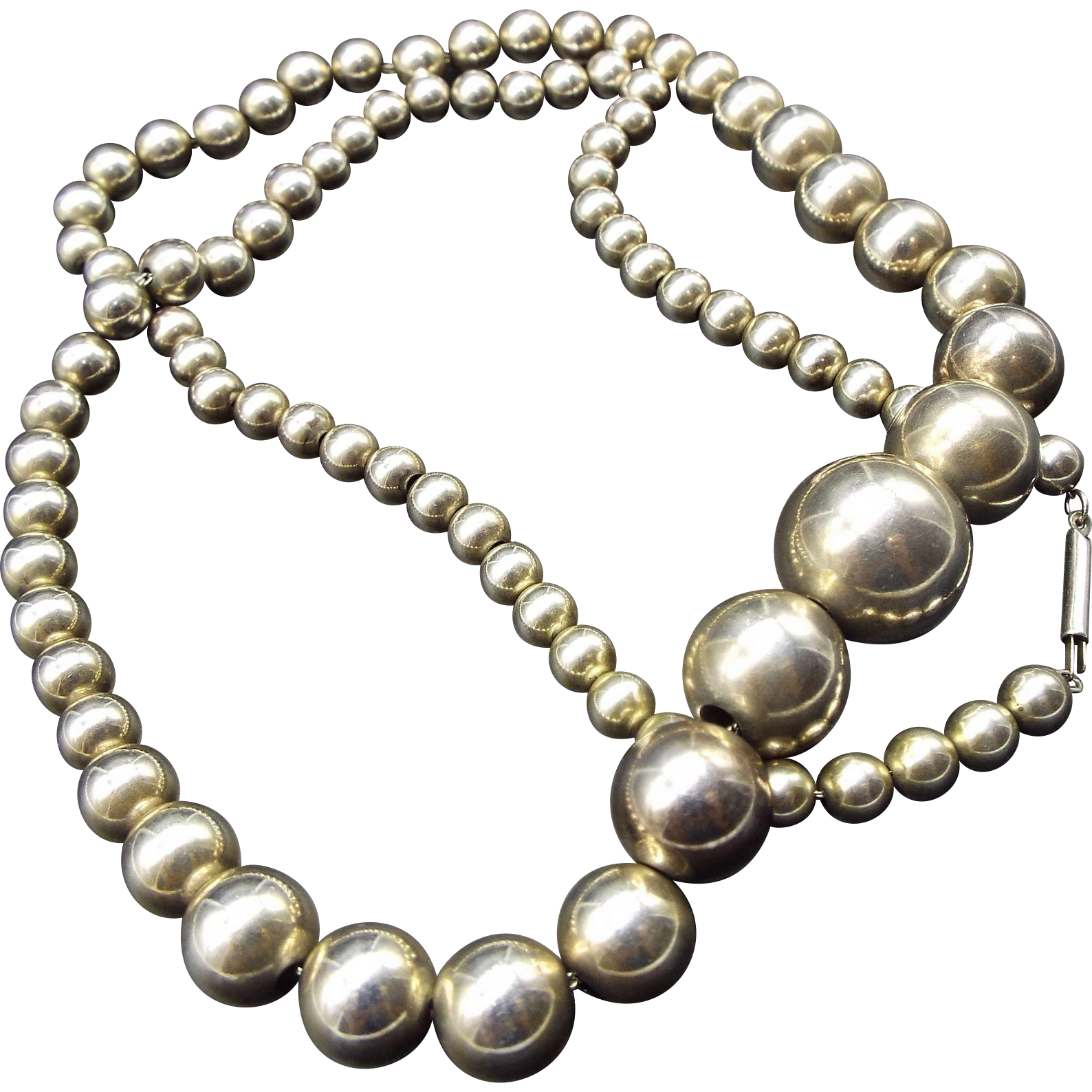 Sterling Bead Necklace 1940s Signed, 24 Inches