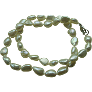Freshwater Baroque Real Pearl Necklace Sterling Findings