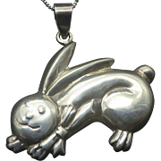 Sterling Happy Bunny Rabbit Figural Necklace 1970s