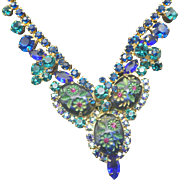 DeLizza And Elster JULIANA Demi Parure Necklace Earrings 1960s Blue