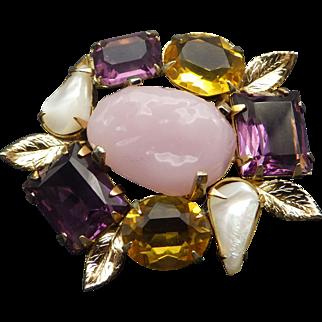 Vintage Brooch, Citrine, Amethyst, Mother Of Pearl and Rose Quartz look stones, Quality Craftsmanship!