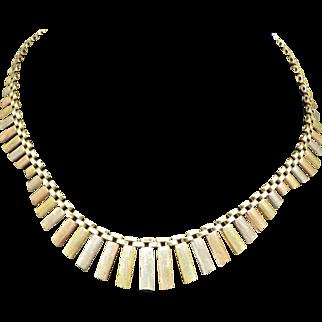 Vintage Italian Tri-Color Sterling silver Choker Necklace, Elegant!