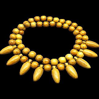 Vintage Polished Myrtle Wood Beaded Necklace, Lightweight, Natural Hardwood Found in Oregon and Israel!