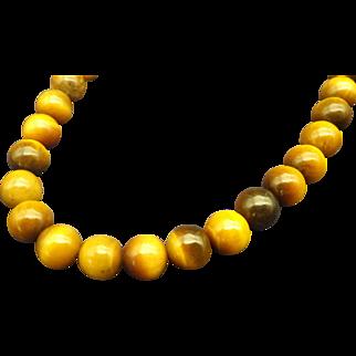 Genuine Vintage Tiger Eye Gemstone Beaded Necklace, 1960s!