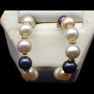 Vintage 14k Gold Pearl Hoop Earrings, New Old Store Stock, Never Worn