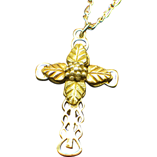 Vintage Coleman Company Black Hills Gold Accented Sterling Filigree Cross Pendant Necklace!
