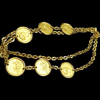 Vintage Monet Greek Coin Motif Long Necklace, Goldtone