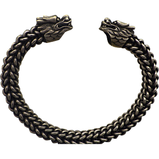 Vintage Asian Foo Dog Bracelet, Larger Size Woven Chain, Unisex Retro Jewelry, Chinese