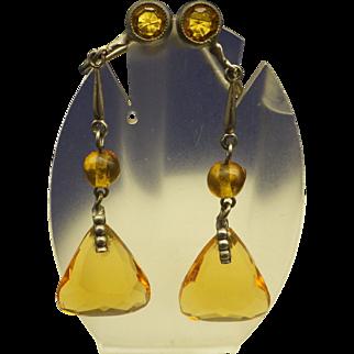 Antique Art Deco 1920s Czech Topaz Drop Earrings, handmade in Czechoslovakia!