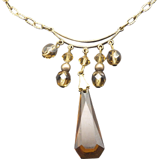 Art Deco 1930s Czech Coffee Color Crystal Necklace, Vintage Jewelry