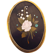 "Antique 4"" Tall Pietra Dura Brooch, Italian Marble Inlaid Gems, 9ct. Frame Huge!"