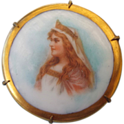 Antique Victorian Portrait Brooch With Gold Accenting, 1880s!
