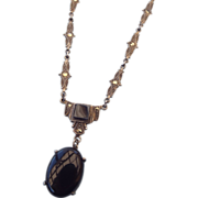 Art Deco Sterling and Marcasite Necklace With Onyx Centerpiece!