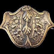 Art Nouveau Brooch Authentic 1900s Floral Motif Repousse' Sash Pin