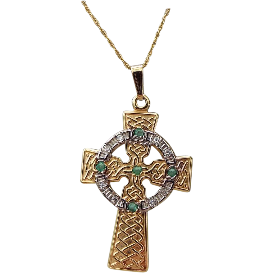 10k celtic gold cross pendant necklace with emeralds
