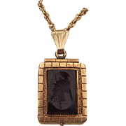 Victorian Revival 1930s Rolled Rose Gold Double Sided Locket With Carnelian and onyx Intaglio Cameo!