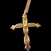 Larger Vintage Golden Filigree Unisex Cross Pendant Necklace, Elegant Fleur de Lis Design!