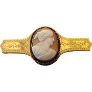 Dated 14k Gold Victorian Cameo Brooch, Elegant Antique Treasure Dated 1884!