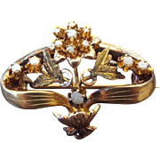 1840s Grand Victorian Baroque Pearl Pin 12k Gold, Wonderful Floral Design!