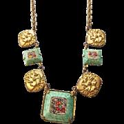 Antique Edwardian Micro Mosaic Station Necklace 1910s Peking Glass Frames!