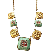 Antique Edwardian Micro Mosaic Station Necklace 1910s Peking Glass Frames!