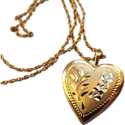Mid Century 14k Gold Filled Heart Pendant Necklace, A Classic Treasure!