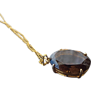 Large Smoky Quartz Gemstone Pendant, 1960s Faceted Treasure!