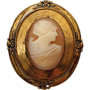 1940s Real Cameo Brooch, Victorian Revival Designed Setting!