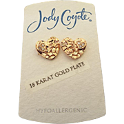 New Old Stock Jody Coyote Rose Heart Pierced Earrings!