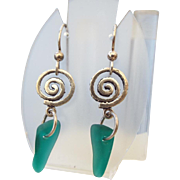 Sterling Sea Glass Earrings, Beautiful Vintage!