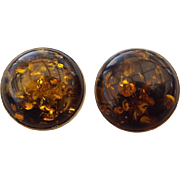 Elegant Vintage Sterling and Amber Mid Century Earrings, Gorgeous!