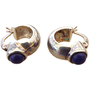 Sterling Silver and Lapis Lazuli Gemstone Vintage Huggie Earrings!