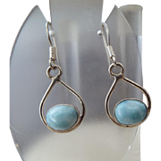 Caribbean Larimar Gemstone Earrings in Sterling Silver Findings Genuine Larimar!