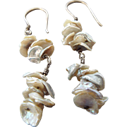 "Arts and Crafts Era Natural Baroque Pearl Drop Earrings, Very Unusual ""Petal"" Pearls, Luminous!"