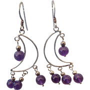 Sterling and Amethyst Dangle Earrings, Wonderful Lightweight Design!