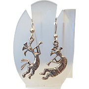 Kokopelli Figural Earrings In Sterling Silver Unique Design!