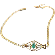 14k Yellow Gold Bracelet 1960s Retro Emerald and Diamond Gemstones!