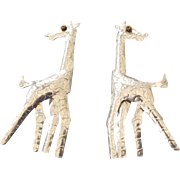 Arts and Crafts Era Figural Giraffe Earrings, Unique Vintage!