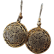 Golden Celtic Drop Earrings For Pierced Ears, Elegant Vintage!